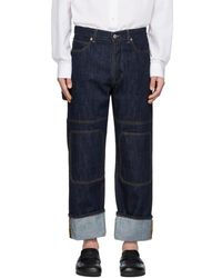JW Anderson Indigo Patched Jeans - Blue
