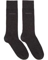 BOSS - Two-pack Grey Block Stripe Socks - Lyst