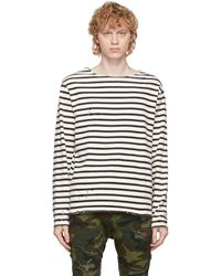 R13 ブラック & オフホワイト Breton ロングスリーブ T シャツ