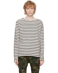 R13 T-shirt à manches longues noir et blanc cassé Breton