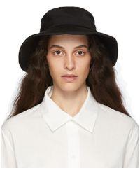 Y's Yohji Yamamoto Black Gabardine Tied Hat