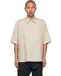 Wooyoungmi Beige Oversized Patch Logo Shirt - Natural