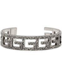 Gucci Bracelet-manchette à motif G carré - Métallisé