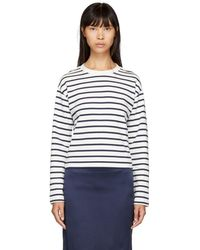 Rag & Bone - White And Navy Mariner Long Sleeve T-shirt - Lyst