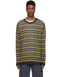 Wooyoungmi - Yellow And Navy Striped Oversized Sweater - Lyst