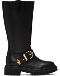 Versace Jeans Couture ブラック Rodeo バックル トール ブーツ