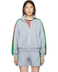 Gucci シルバー リフレクティブ ジップアップ セーター - メタリック