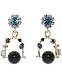 Erdem - Gold And Blue Jewel Swing Earrings - Lyst