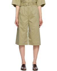 Lemaire Silk Pleated Bermuda Shorts - Green