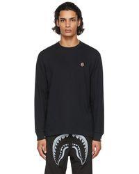 A Bathing Ape T-shirt à manches longues noir à appliqué à logo