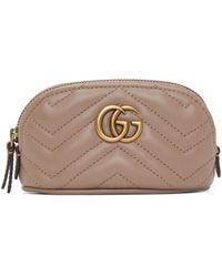 Gucci - トープ ミニ GG Marmont 2.0 コイン ケース キーチェーン - Lyst