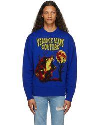 Versace Jeans Couture ネイビー Motif ロゴ セーター - ブルー