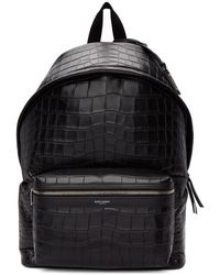 Saint Laurent Black Croc City Backpack