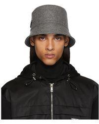 Prada Grey Triangle Logo Bucket Hat - Gray