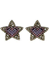 Ashley Williams ブラック & イエロー Star Heart クリップオン イヤリング - マルチカラー