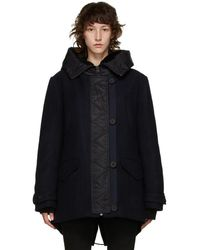 Army by Yves Salomon Navy Wool Hooded Parka - Blue