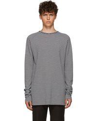 Haider Ackermann T-shirt a manches longues raye noir et blanc Fortuna