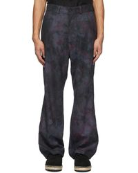 Needles Navy Uneven Dye Pants - Blue