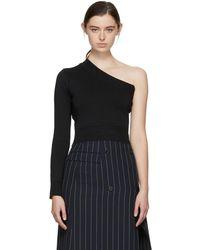 Juun.J - Black One Shoulder Crop Sweater - Lyst
