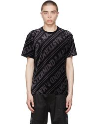 MASTERMIND WORLD Black & Gray Velour Diagonal T-shirt