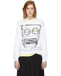 Comme des Garçons ホワイト マスク プリント スウェットシャツ