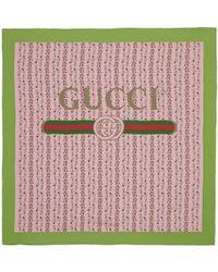 Gucci | Pink Silk Flowers Scarf | Lyst