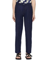 Blue Blue Japan Pantalon chinos en lin indigo One Tuck - Bleu