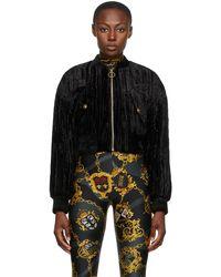Versace Jeans Couture - ブラック クラッシュ ベルベット ボンバー ジャケット - Lyst