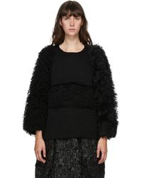 Comme des Garçons - ブラック ウール マルチマテリアル セーター - Lyst