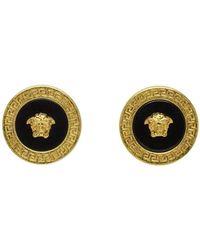 Versace ゴールド And ブラック レジン メドゥーサ スタッド ピアス - マルチカラー