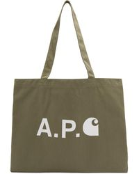 A.P.C. Carhartt Wip Edition カーキ ロゴ ショッピング トート - グリーン