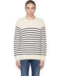 Nudie Jeans オフホワイト & ネイビー ストライプ Hampus セーター - ブルー