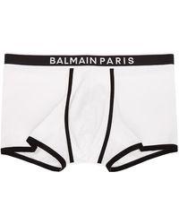 Balmain - ホワイト & ブラック ロゴ ボクサー - Lyst