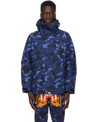 A Bathing Ape Navy Camo Snowboard Jacket - Blue
