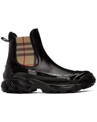 Burberry Vintage Check Detail Coated Canvas Chelsea Boots - Black