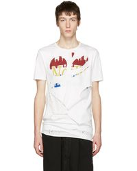 Miharayasuhiro T-shirt blanc Massive Hole and Print