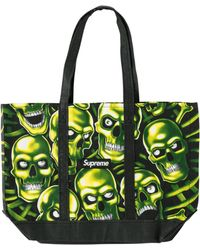 Supreme Skull Pile Denim Tote - Green
