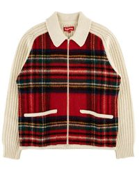 Supreme Plaid Front Zip Sweater 'fw 18' - Red