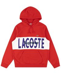 Supreme - Lacoste Logo Panel Hoodie Sweatshirt 'fw 19' - Lyst