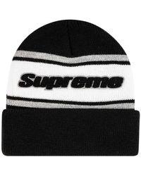 Supreme Chenille Stripe Beanie - Black