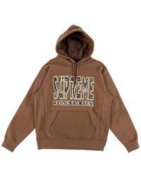 Supreme Paisley F*ck Em' All Hooded Sweatshirt - Brown