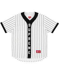 Supreme Vertical Logo Baseball Jerseyy 'fw 18' - White