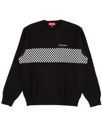 Supreme Checkered Panel Crewneck Sweatshirt 'ss 18' - Black