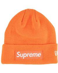 Supreme New Era Box Logo Beanie - Orange