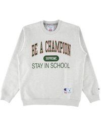 Supreme Champion Stay In School Crewneck T-shirt 'ss 18' - Gray