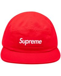 Supreme Washed Chino Twill Camp Cap 'ss 19' - Red
