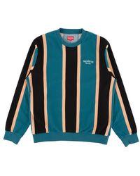 Supreme Vertical Striped Pique Crewneck T-shirt 'fw 17' - Blue