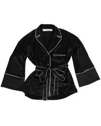 Off-White c/o Virgil Abloh Pajama Satin Shirt - Black