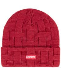 "Supreme Basket Weave Beanie ""fw 19"" - Red"