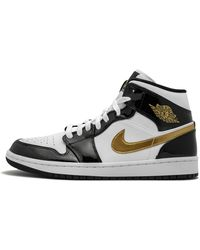Nike Air 1 Mid Se 'black Gold Patent Leather' Shoes - Size 8